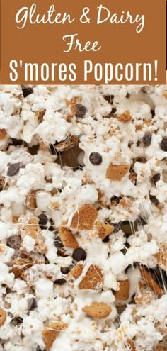 If you love smores but want it in a snack-able formput it together with popcorn! Your favorites: marshmallows chocolate and graham but made into something you can munch on all day long! Naturally gluten & dairy free with egg soy and nut free alternatives! Gluten Free Popcorn, Dairy Free Snacks, Vegan Popcorn, Healthy Popcorn, Gluten Free Camping, Vegan Gluten Free, Paleo, Allergy Free Recipes, Gf Recipes
