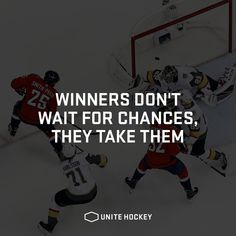 Winners don't wait for chances they take them. Hockey Quotes, Sport Quotes, Sports Illustrated, Art Journal Pages, Phillip Lim, Sports Party, Hockey Party, Senior Home Care, Videos Tumblr