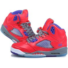 buy online 33f05 9222b Top AAA+ Women Air Jordan 5 Watermelon Red Purple WTAJ5-004 ❤ liked on  Polyvore