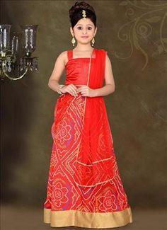 Vivid Red Art Silk Lehenga Choli