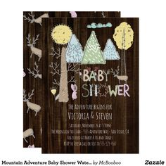 Mountain Adventure Baby Shower Watercolor forest Card