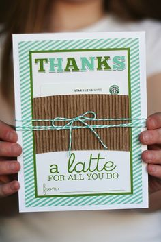 "Teacher Gift Card Printables - Starbucks ""Thank a Latte"". We love this DIY printable to hold a gift card to Starbucks. Perfect for Teacher Appreciation or an End-of-Year Gift."