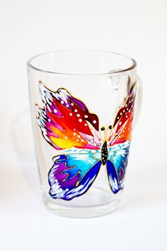 Items similar to Butterfly Mug Personalized Butterfly Gifts for Women - Personalized Butterfly Coffee Cup With Name on Etsy Decorated Wine Glasses, Painted Wine Glasses, Wine Glass Crafts, Wine Bottle Crafts, Bottle Painting, Bottle Art, Baptism Gifts For Girls, Painted Coffee Mugs, Glass Painting Designs