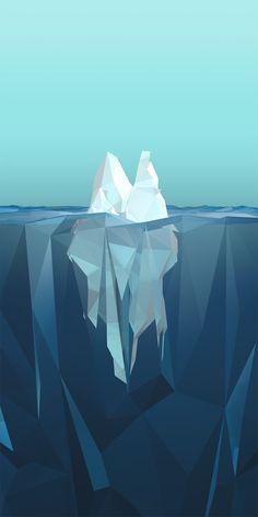 Low Poly Iceberg. Minimalist Phone, Android Wallpaper Minimalist, Cool Wallpaper, Mobile Wallpaper, Wallpaper Backgrounds, Phone Wallpapers, Landscape Illustration, Illustration Art, Material Design