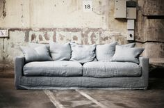 Need a new sofa, love this one: Belleville Living Room Sofa, Living Room Furniture, Living Spaces, Linen Couch, Loft, Sofa Design, Slipcovers, Interior Inspiration, Decoration