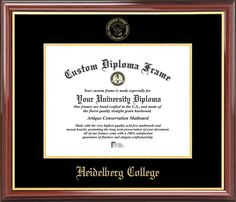 Heidelberg College Diploma Frame - Embossed Seal - Mahogany Gold Trim