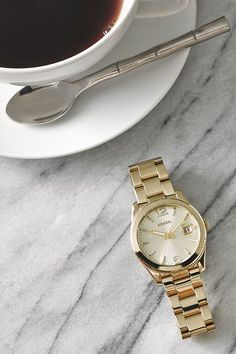 Currently caffeinated. #Fossil Perfect Boyfriend watch in Gold.