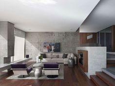 salon amplio paredes hormigo chimenea madera ideas