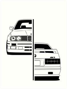 Kunstdruck von CarWorld - New Sites Bmw E30 M3, Bmw E30 Coupe, Carros Bmw, Cool Car Drawings, Street Racing Cars, Bmw Wallpapers, Bmw Autos, Bmw Classic Cars, Bmw Series