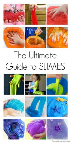 The ULTIMATE guide to slimes.  Recipes for slimes, flubber, flarp, and even edible (taste-safe) slimes!  Fun for all ages.  In addition to recipes, there are several fun ideas for how to play with slimes.  From Fun at Home with Kids craft, at home, edible slime recipe, fun activities with kids, kids play ideas, flarp, ideas kids, ultim guid, the ultimate guide to slimes
