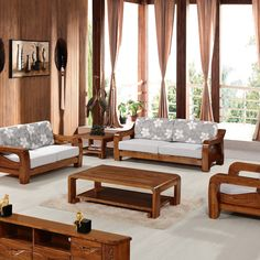 Wood Living Room Sofa and Table in Small Modern Living Room Interior ...