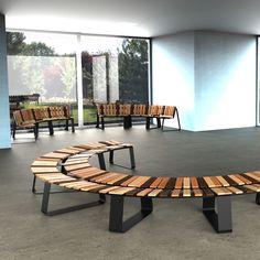 Banc éco design pour espaces recevant du public, intérieurs et extérieurs. De Green Furniture Concept