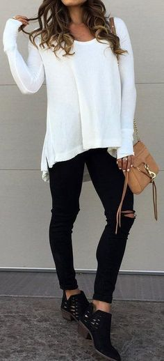 #cute #outfits White Oversized Knit // Black Ripped Jeans // Black Booties