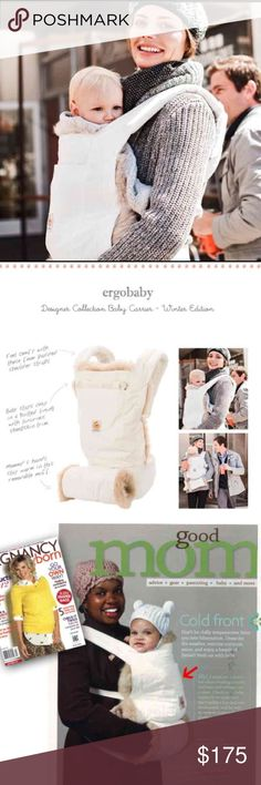 EARGOBABY LIMITED EDITION WINTER CARRIER NEW Quilted lining with luxurious sheepskin trim and your hands stay warm in the removable quilted muff. When the mercury rises, just remove the lining and muff, and you have a stunningly simple lightweight carrier – all in white.  As with all Ergobaby Carriers, it holds your baby in an ergonomic, natural sitting position.  The padded waistbelt ensures baby's weight is evenly distributed between your hips and shoulders while the adjustable, cushy…