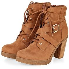 Tan Lace Up Block Heel Ankle Boots (64 AUD) ❤ liked on Polyvore featuring shoes, boots, ankle booties, short boots, lace up bootie, tan ankle boots, tan boots and bootie boots