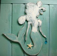 Mermaid Sign Turquoise Crystal Wall Art Beach by CastawaysHall, $94.00