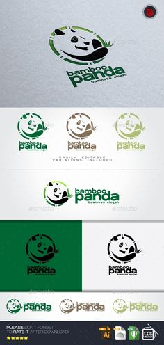Bamboo Panda Logo Animal — Vector EPS #animal #design studio • Available here → https://graphicriver.net/item/bamboo-panda-logo-animal/11865952?ref=pxcr