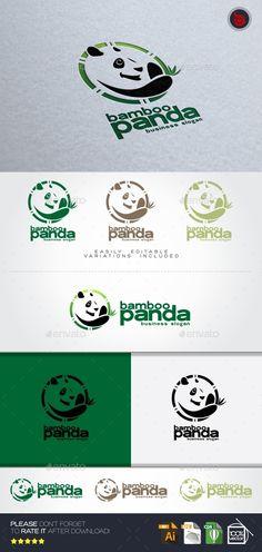 Bamboo Panda Logo Animal — Vector EPS #animal #design studio • Available here → graphicriver.net/...