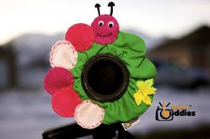 shutter buddies caterpillar ... what a great idea for getting kids to look at the camera!  i want to try to make one.
