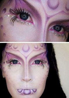 halloween-schminke-ideen-frau-lila-ausserirdische-glitzersteine.jpg (750×1060)