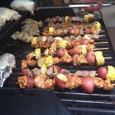 Chicken and steak Kabobs with sweet corn and garlic roasted potatoes :)