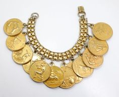 Vintage-1930s-40s-Gold-GP-Zodiac-Astrology-Charm-Bracelet