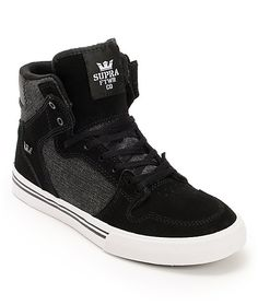 Head to school in style with the Supra Kids Vaider black denim and white skate shoe. Long lasting design with a durable black suede upper with denim canvas sidewalls, combo lacing system, and a vulcanized construction with durable white rubber outsole. Hip Hop Sneakers, Hip Hop Shoes, Black Denim, Black Suede, Supra Shoes, Sneaker Brands, Skate Shoes, Shoe Shop, Nike Sb
