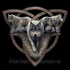 New wolf design from Anne Stokes featuring a triquetra symbol #wolf #fantasy #triquetra