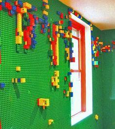 Lego Wall -- neat idea for a playroom