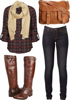 Fall Outfit With Tartan,Scarf and Long Boots.  I need some dark plaid shirts that fit.