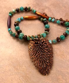 Organic Bronze Leaf Necklace Large Solid Bronze by CatchingWaves