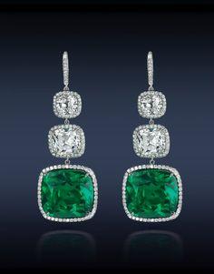 Cushion Cut Emerald Earrings. Jacob & Co.