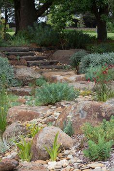 Bolinda Vale, Clarkefield.  Dry River Bed by Phillip Johnson Landscape Design.