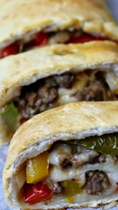 Sweet Onion and Sausage Stromboli that's also loaded with peppers and cheese… Phenomenal Sausage Bread, Sausage Recipes, Pizza Recipes, Meat Recipes, Cooking Recipes, Turkey Sausage, Sausage Sandwiches, Wrap Sandwiches, Paninis