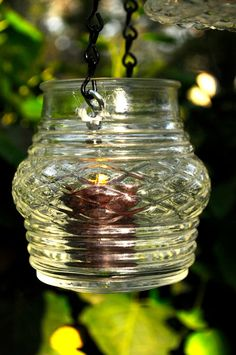 Wedding lantern, mason jar alternative, repurposed vintage glass