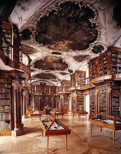 Abbey Library of St. Gall, Switzerland - The library collection is the oldest in Switzerland, and is one of the earliest and most important monastic libraries in the world. It holds 2,100 manuscripts dating back from the 8th to the 15th centuries, 1,650 incunabula (printed before 1500), and old printed books. The library holds almost 160,000 volumes. The manuscript B of the Nibelungenlied is kept here.