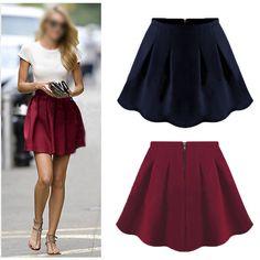 High Waist Skater Mini Plain Flared Pleated A-Line Short Dress Wine/Navy #Unbranded #Pleated