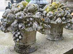 19th Century decorative limestone carved baskets