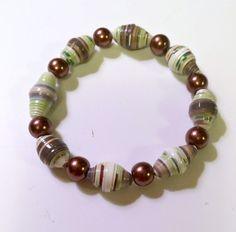 Green White Copper Color Paper Bead Bracelet Mom by MargabeadaGirl, $20.00