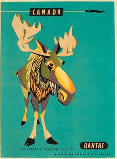 Canada Qantas, 1950s - original vintage poster by Harry Rogers listed on AntikBar.co.uk