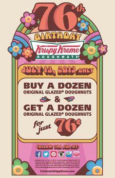 KRISPY KREME $$ Buy 1 Dozen Glazed Doughnuts, Get 1 Dozen for Only $0.76 (7/13 Only)!