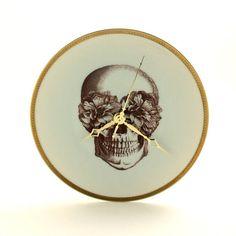 Altered Sugar Skull Wall Clock Plate Porcelain Bronze Hands
