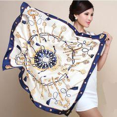 2015 Spring New Arrival France Euro Brand Style Women Fashion Silk Polyester Square Scarf Big Size 90cm*90cm Silk Shawl