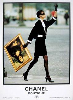 Inès de la Fressange - Chanel - Mona Lisa love this ad campaign Chanel Vintage, Vintage Vogue, Vintage Fashion, Vintage Bag, Vintage Couture, Vintage Paris, Mona Lisa, French Fashion, Look Fashion