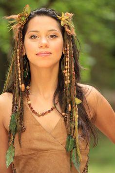 headdress dreadfalls wig faery fantasy tribal goddess earthy  woodland faery burningman mother earth lotuscircle
