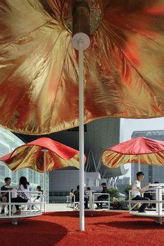 red + gold umbrellas