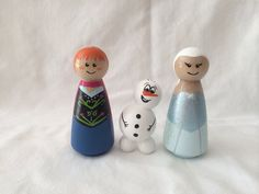 I love Summer!    Your little princess will love this little princess and queen and their side kick Olaf! Hand painted with acrylic craft paints and