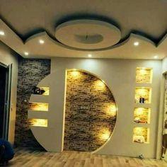 Lcd Wall Design, Pop Ceiling Design, Ceiling Design Living Room, False Ceiling Living Room, Home Room Design, Home Ceiling, Wall Unit Designs, Bedroom Wall Designs, Tv Showcase Design