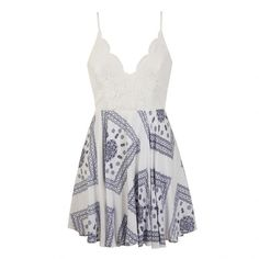 Ally Fashion Bandana print lace bodice dress ($35) ❤ liked on Polyvore featuring dresses, print, lacy white dress, lace dress, white zipper dress, zip dress and bandana print dress