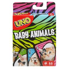Now you can play UNO and at the same time look at adorable baby animals! Same as basic UNO but features pictures of precious little animals like baby Tigers, puppies, and piglets The goal is to get rid of all the cards in your hand, Uno Card Game, Uno Cards, Card Games, Baby Tigers, Action Cards, Matching Cards, Baby Deer, Animal Cards, Miniatures